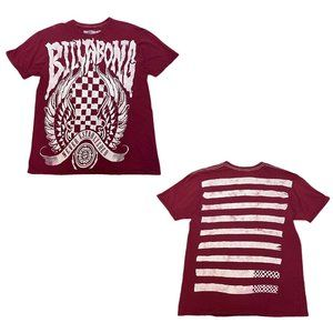Billabong Maroon Red Double Sided Graphic Tee